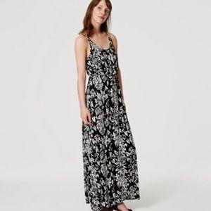 LOFT Black White Floral Maxi Dress Med Petite